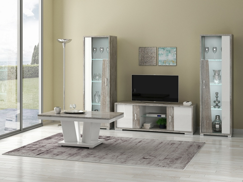 Naro Dove Grey and White 1 Left Door Glass Italian Cabinet with LED Light