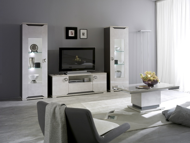 Angelo Grey Marble 1 Right Door Italian Cabinet with LED Light