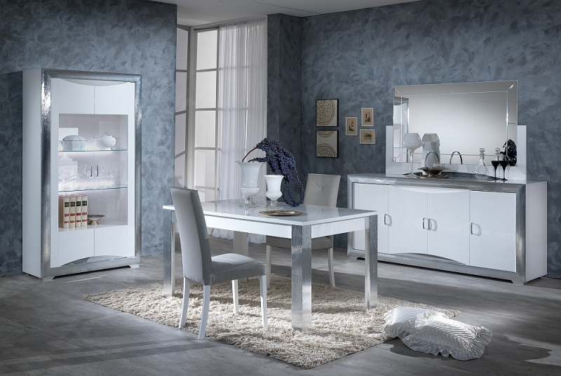 Leni White and Silver Italian Leather Dining Table (Pair)