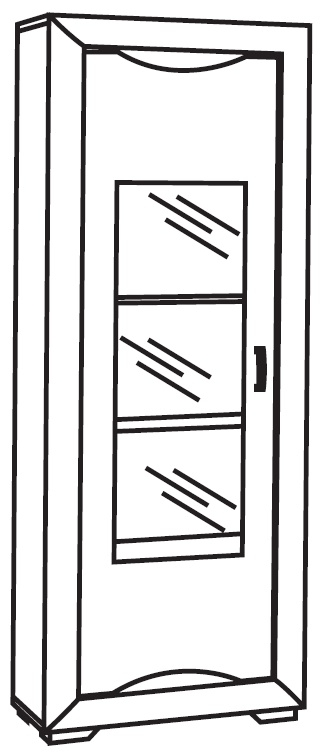 Leni White and Silver 1 Right Door Italian Cabinet with LED Light