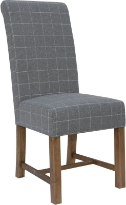 Clearance - Hoxie Check Grey Fabric Dining Chair (Pair) - New - E-698