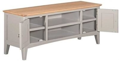 Clearance - Lowell Oak and Grey Painted Large TV Unit - New - E-689