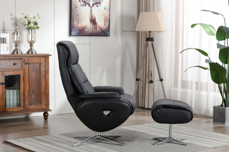 GFA Dominican Swivel Recliner Chair with Footstool - Black Leather Match