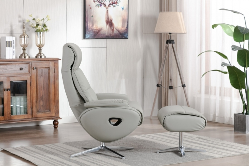 GFA Dominican Swivel Recliner Chair with Footstool - Grey Leather Match