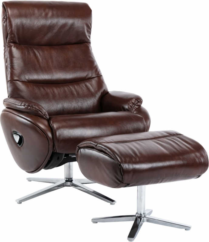 GFA Dominican Swivel Recliner Chair with Footstool - Conker Brown Leather Match