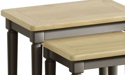 Clearance - Harmony Oak and Grey Painted Nest of Tables - New - E-712