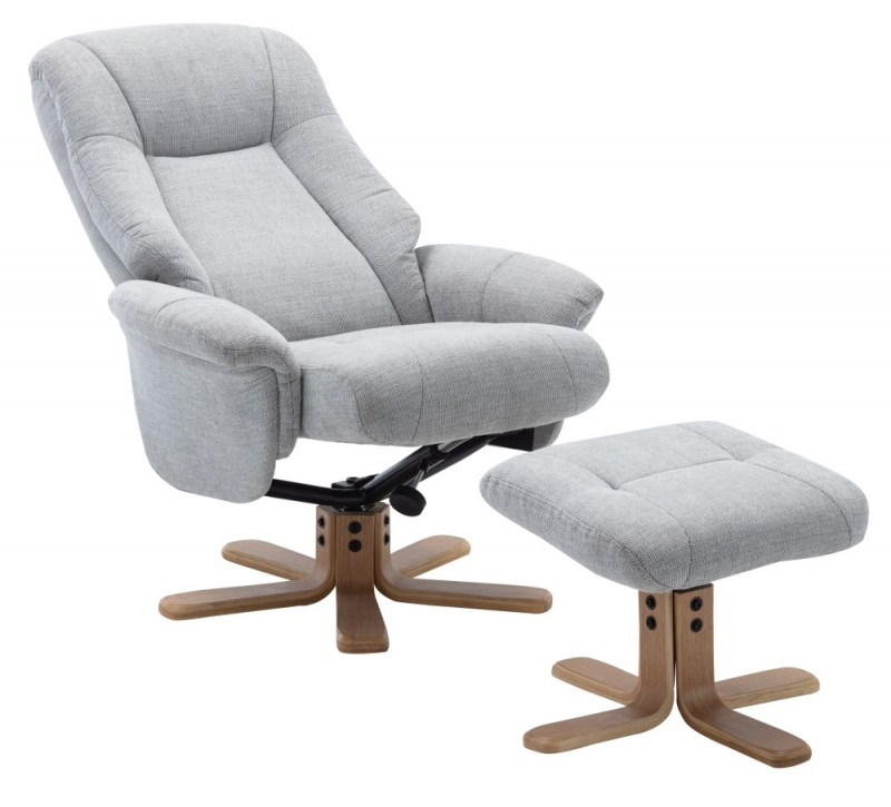 GFA Hawaii Swivel Recliner Chair with Footstool - Lille Cloud Fabric