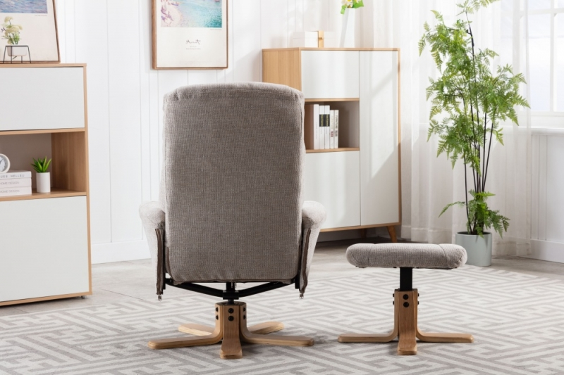 GFA Hawaii Swivel Recliner Chair with Footstool - Lille Sand Fabric