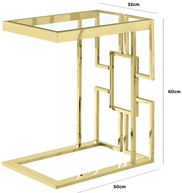 Gail Glass and Gold Sofa Table