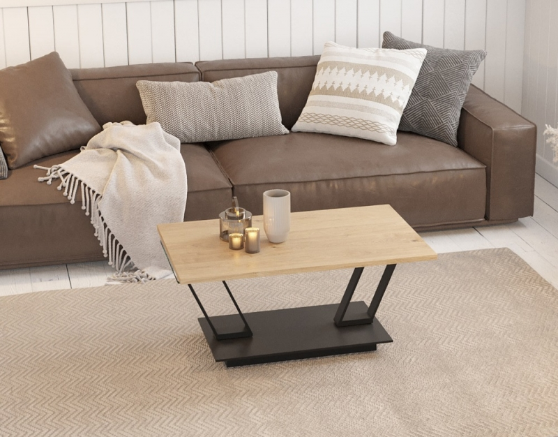 Barcelona Roulette Oak and Glass Wing Coffee Table