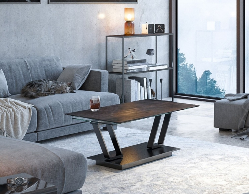 Barcelona Roulette Steel Ceramic and Glass Wing Coffee Table