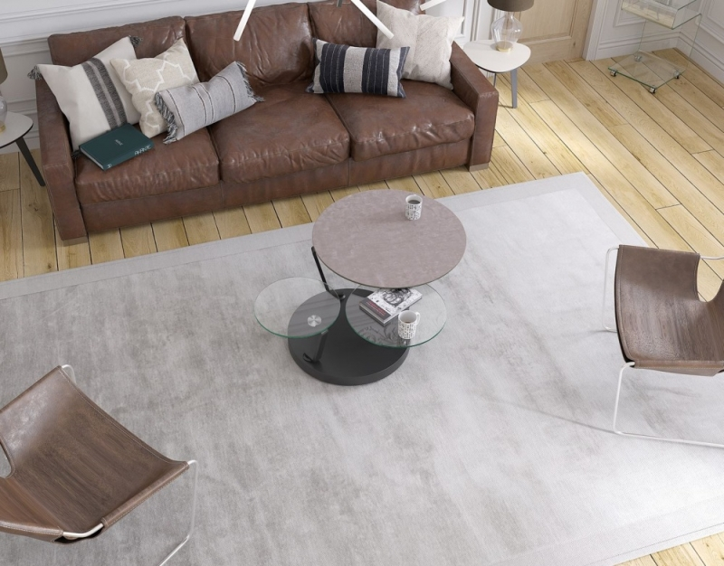 Boussole Natural Ceramic and Glass Multi Level Swivel Coffee Table