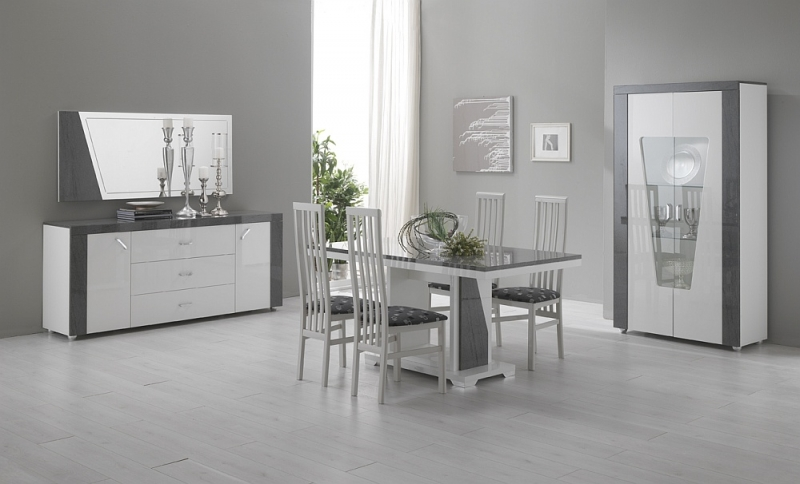 Delia White and Grey Italian Dining Table