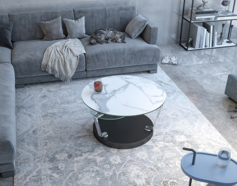 Cadran Marble Effect Ceramic and Glass Multi Level Swivel Coffee Table