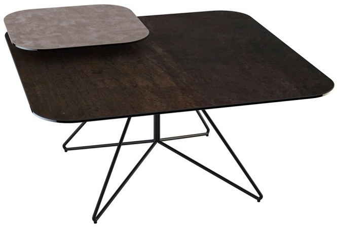 Comete Natural and Steel Ceramic Coffee Table