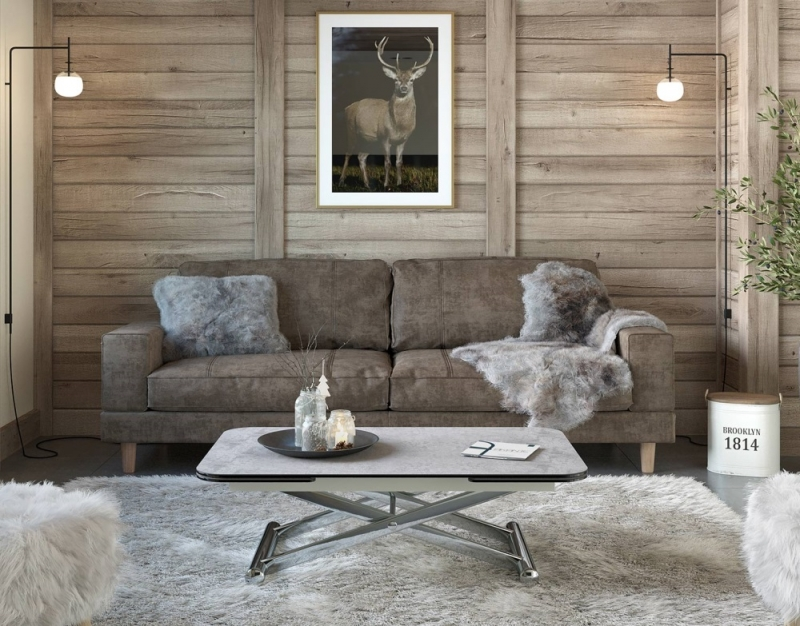 Enora Silver Ceramic and Chrome Extending Coffee Table