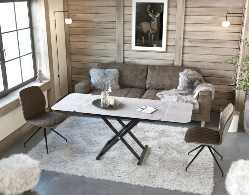 Enora Silver Ceramic and Black Extending Coffee Table