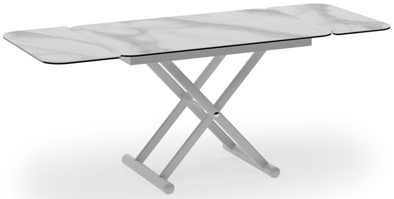 Enora Marble Effect Ceramic and White Extending Coffee Table