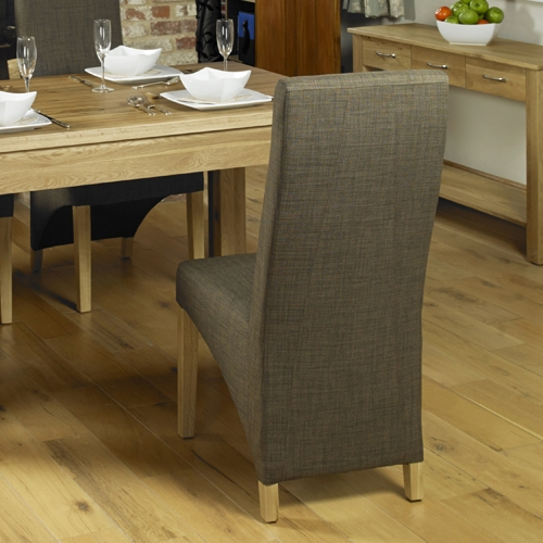 Baumhaus Mobel Oak Full Back Upholstered Dining Chair (Pair)
