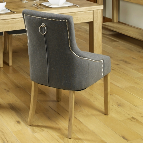 Baumhaus Mobel Oak Grey Stone Knockerback Dining Chair (Pair)