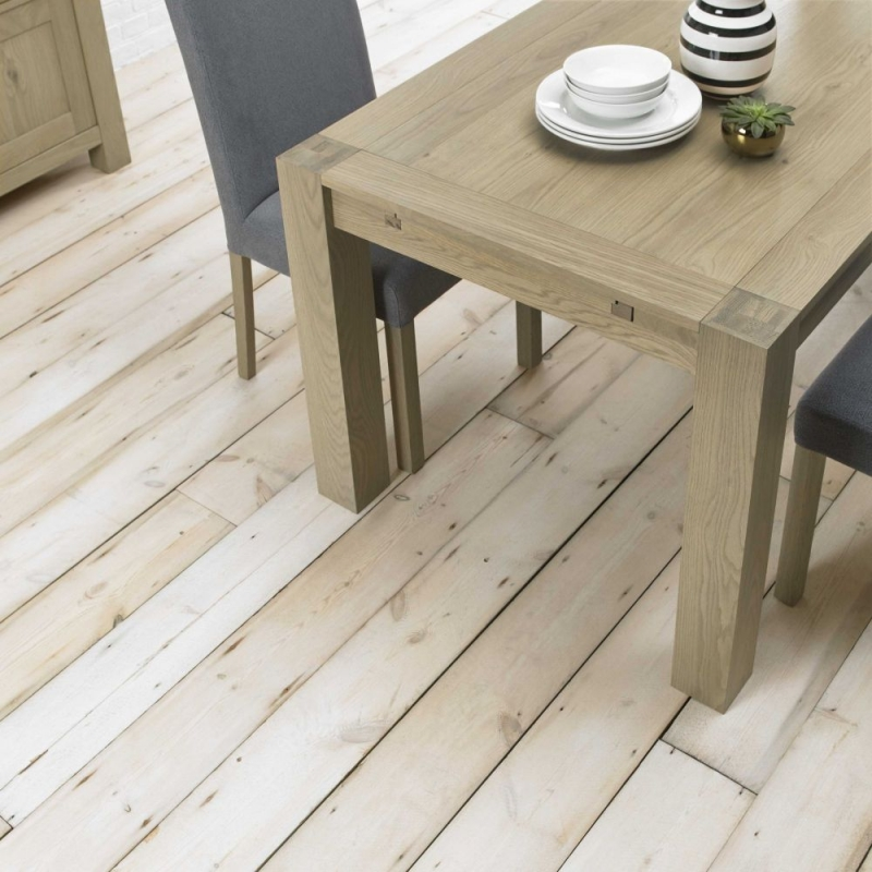 Bentley Designs Turin Aged Oak Dining Table - Double End Extending
