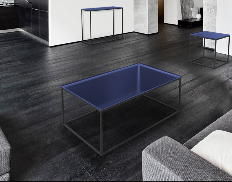 Julia Blue Glass and Black Coffee Table