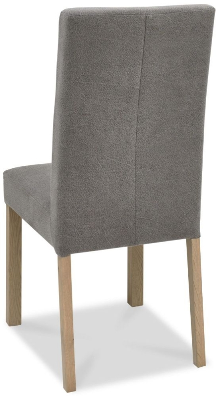 Bentley Designs Turin Aged Oak Dining Chair - Smoke Grey Square Back (Pair)