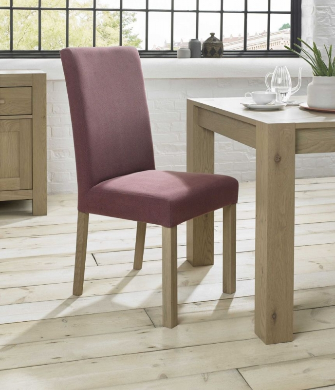 Bentley Designs Turin Aged Oak Dining Chair - Mulberry Square Back (Pair)
