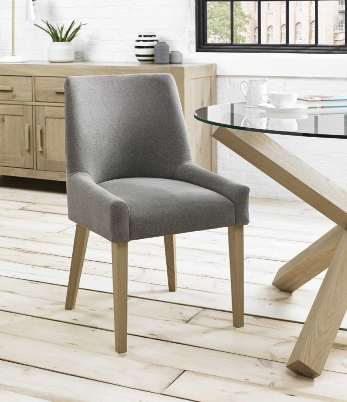 Bentley Designs Turin Aged Oak Dining Chair - Smoke Grey Scoop Back (Pair)