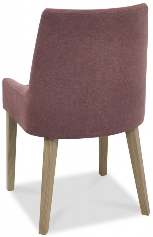 Bentley Designs Turin Aged Oak Dining Chair - Mulberry Scoop Back (Pair)