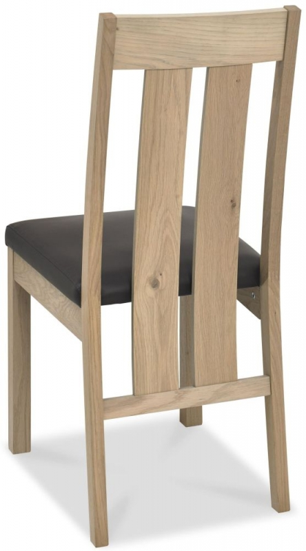 Bentley Designs Turin Aged Oak Dining Chair - Slatted (Pair)