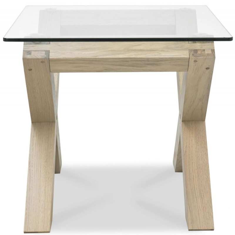 Bentley Designs Turin Aged Oak Lamp Table - Glass Top