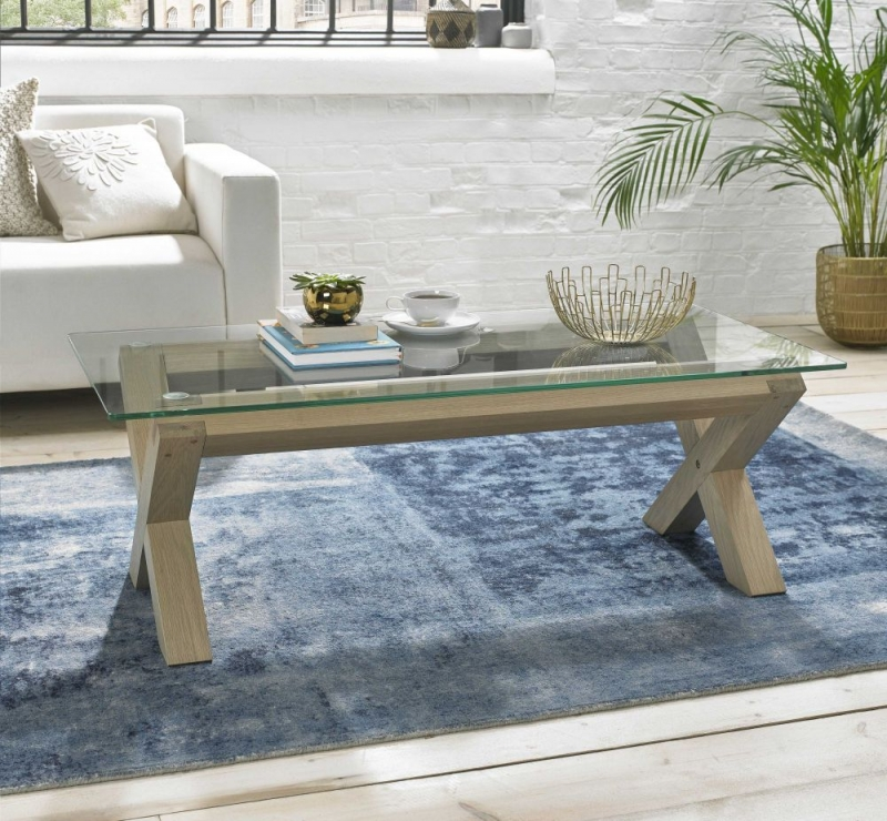 Bentley Designs Turin Aged Oak Coffee Table - Glass Top