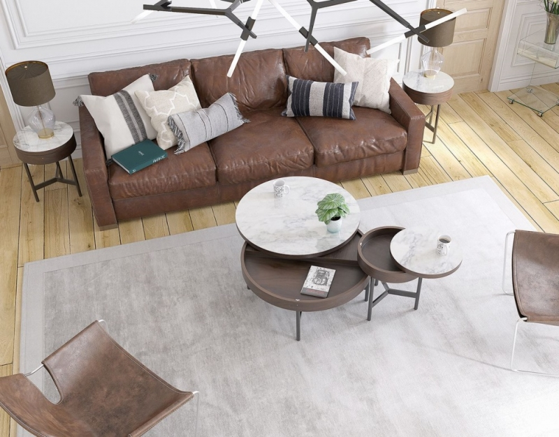 Kingston Marble Effect Ceramic and Walnut Coffee Table