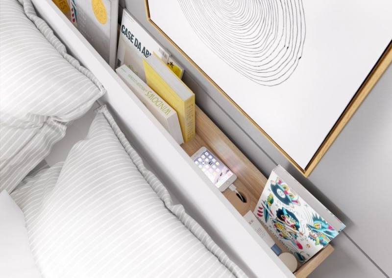 Kern White and Oak Storage Bed with LED Light