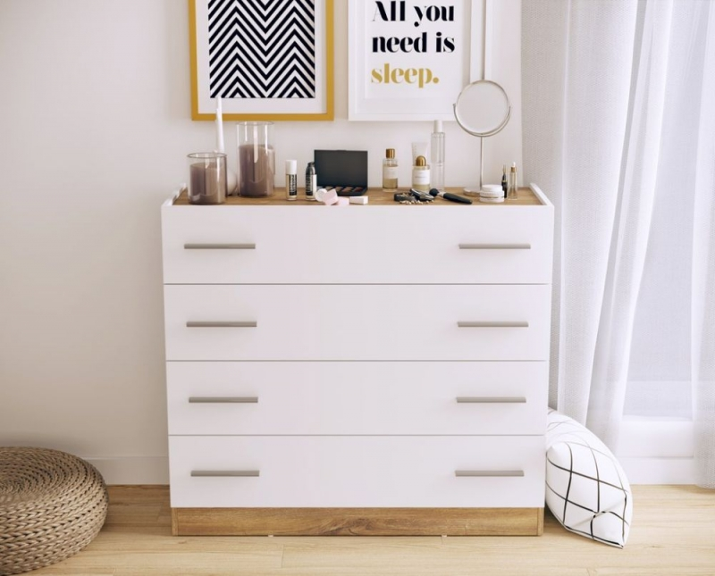 Kern White and Oak 4 Drawer Chest