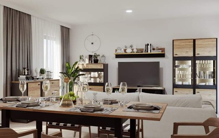Chatham Oak and Black Extending Dining Table