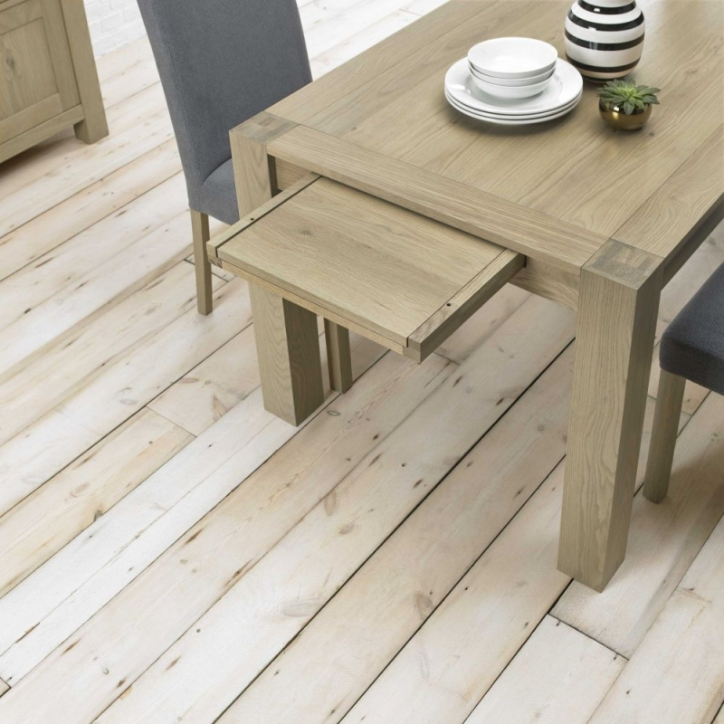 Bentley Designs Turin Aged Oak Dining Set - Double End Extending Table with Mulberry Square Back Chairs