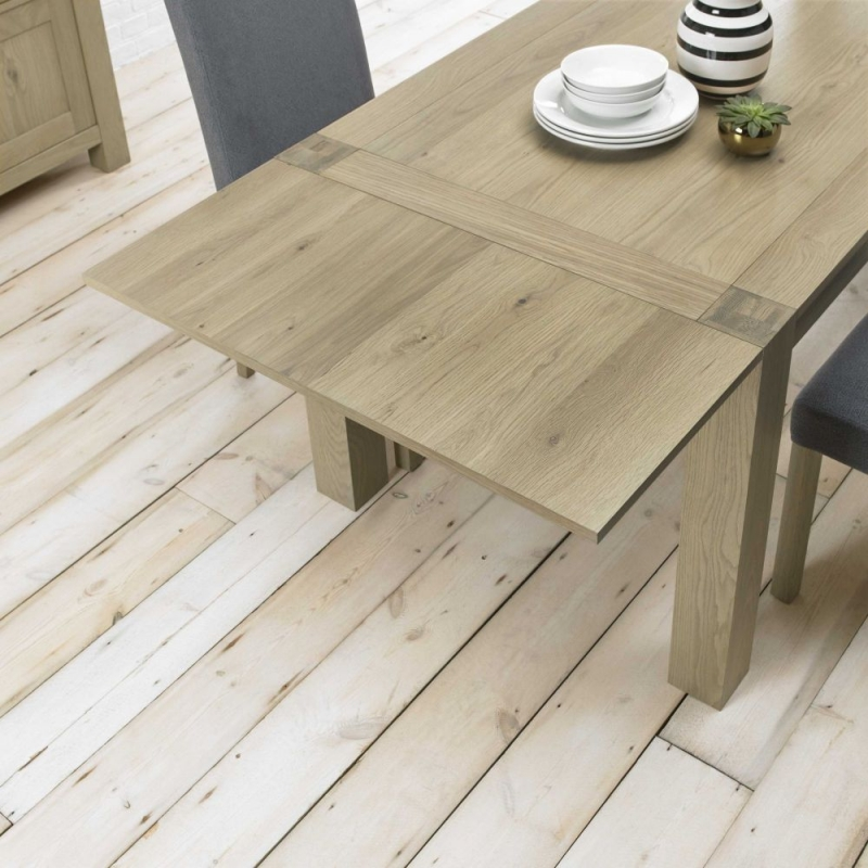 Bentley Designs Turin Aged Oak Dining Set - Double End Extending Table with Smoke Grey Scoop Back Chairs