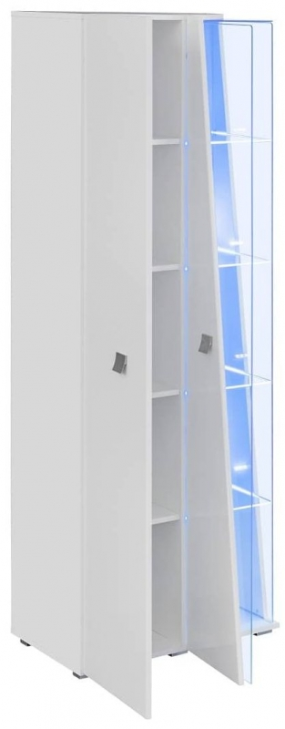 Logan White High Gloss Tall Display Cabinet with LED Light