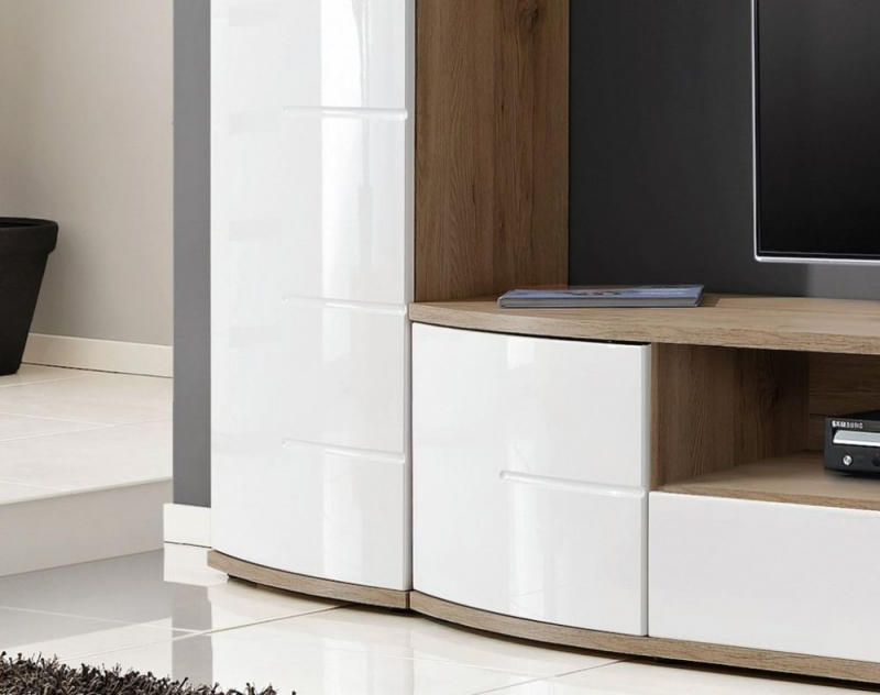 Dunning White High Gloss and Oak Large TV Unit