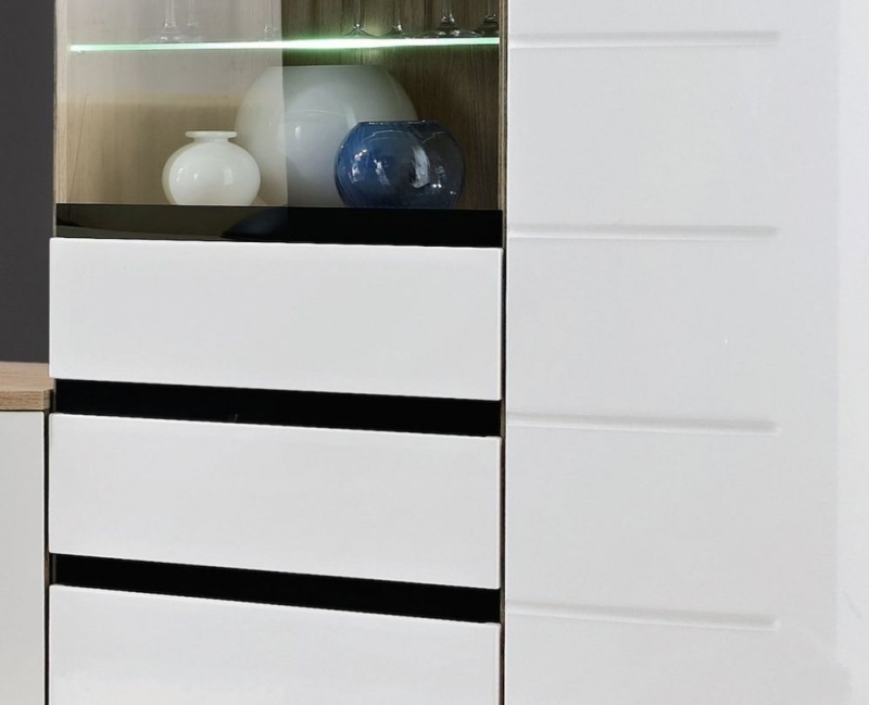 Dunning White High Gloss and Oak Display Cabinet