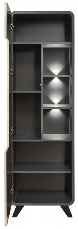 Belmont Oak and Anthracite Tall Cabinet