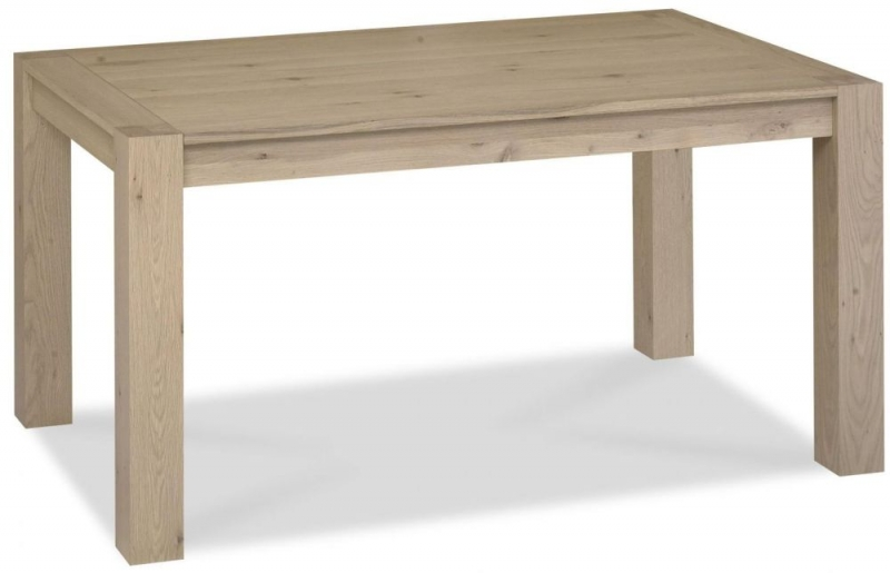 Bentley Designs Turin Aged Oak Dining Set - 6 Seater Table with Smoke Grey Square Back Chairs