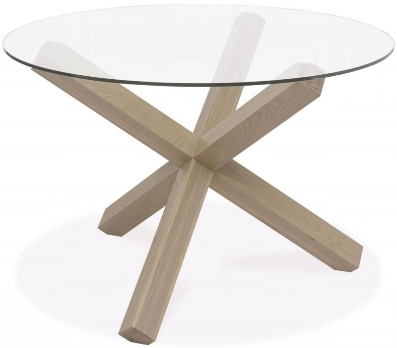 Bentley Designs Turin Aged Oak Dining Set - Round Glass Top Dining Table with Smoke Grey Square Back Chairs