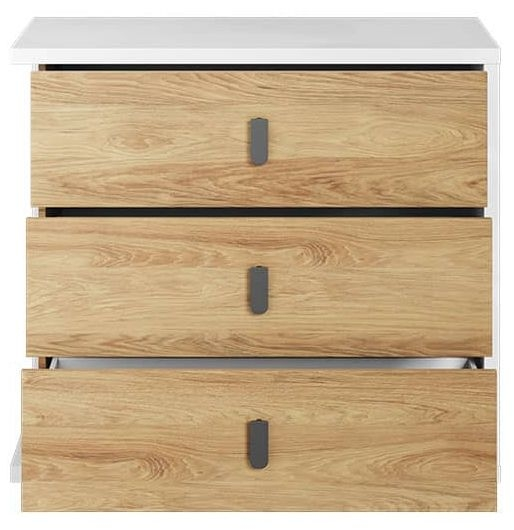 Emily Natural and White 3 Drawer Chest