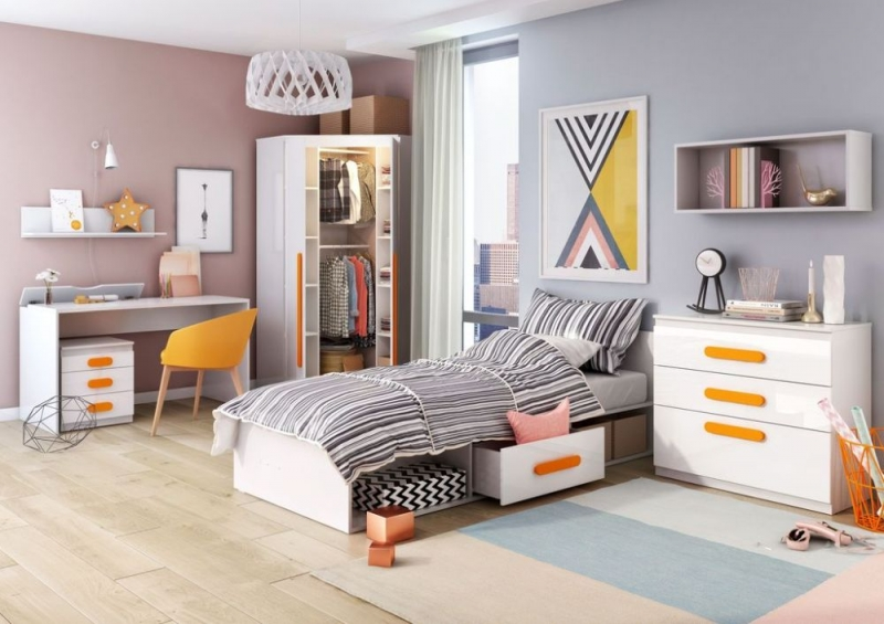 Rosie White High Gloss Bed with Mattress