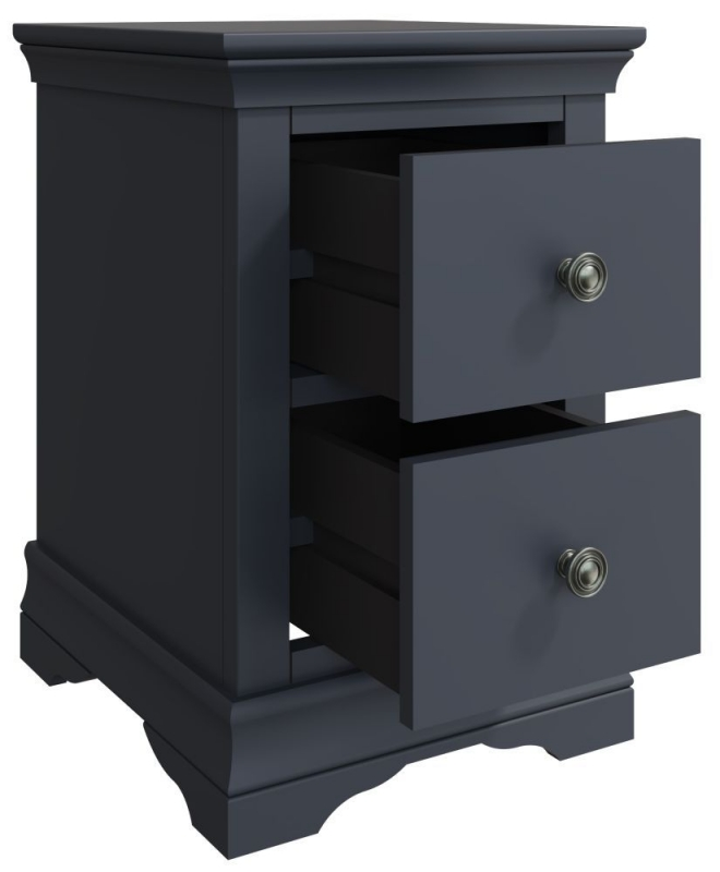 Chantilly Midnight Grey Painted 2 Drawer Bedside Cabinet