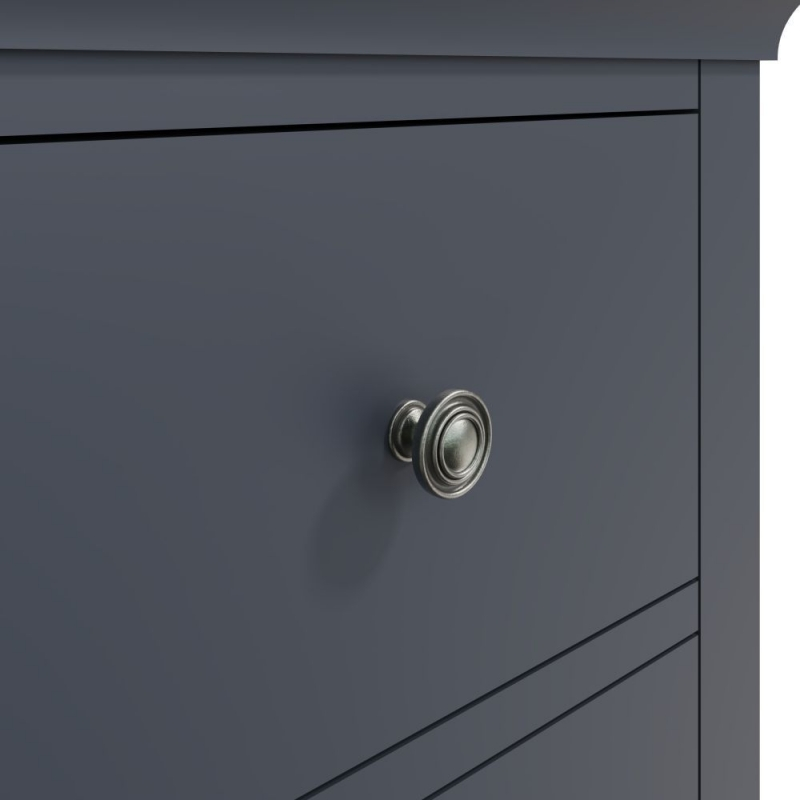 Chantilly Midnight Grey Painted 2 Drawer Large Bedside Cabinet