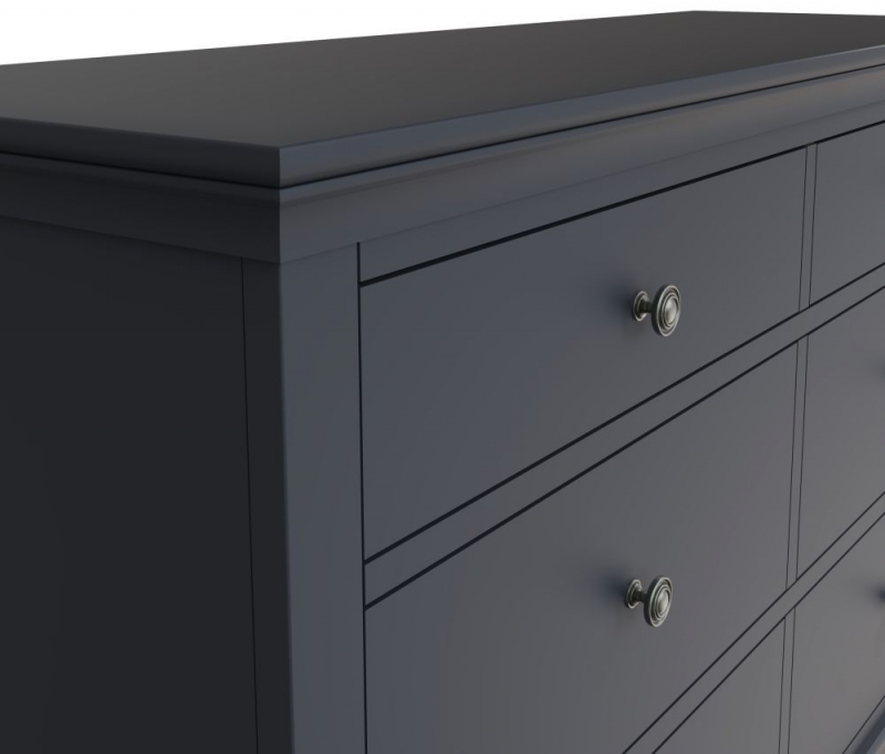 Chantilly Midnight Grey Painted 6 Drawer Chest
